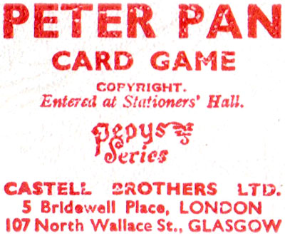 Peter Pan card game by Pepys, first edition, 1939