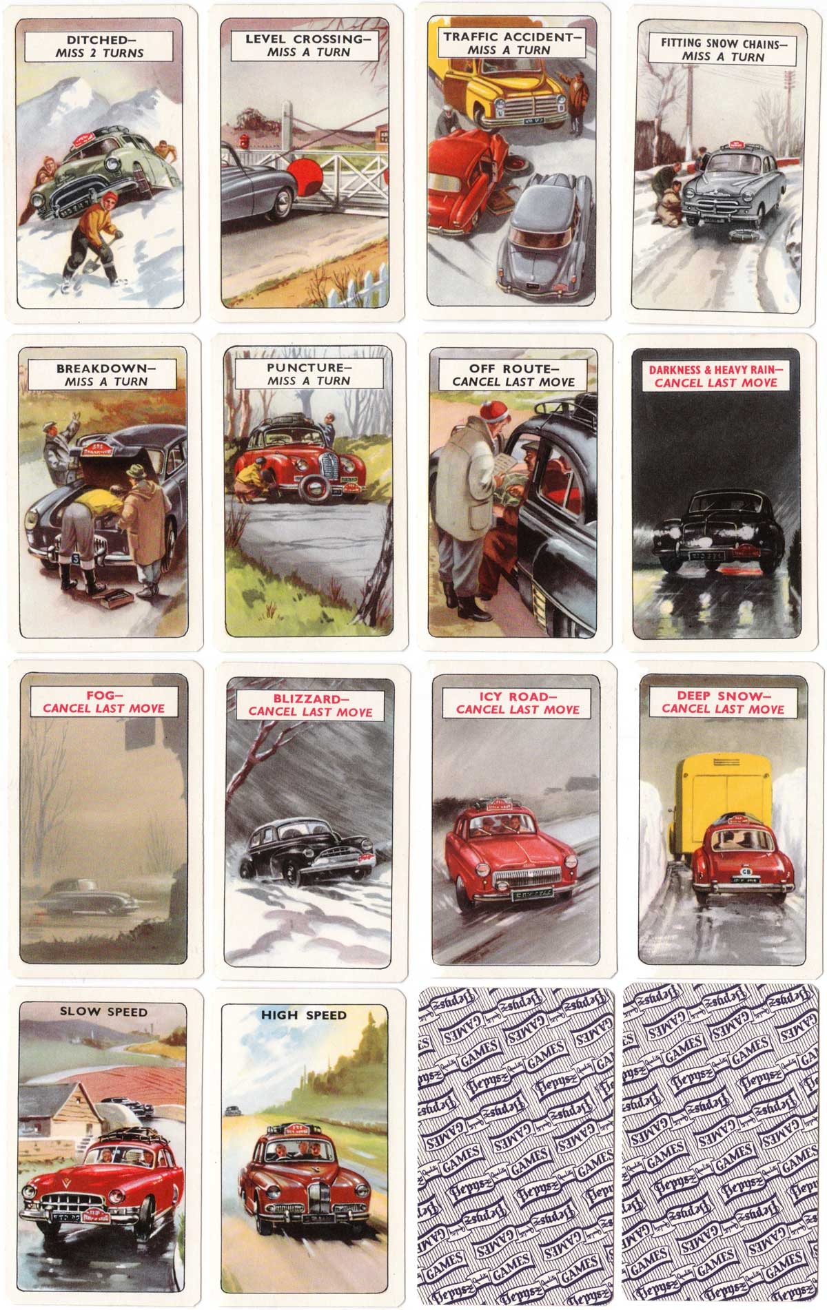 Rally card game by Pepys, 1955