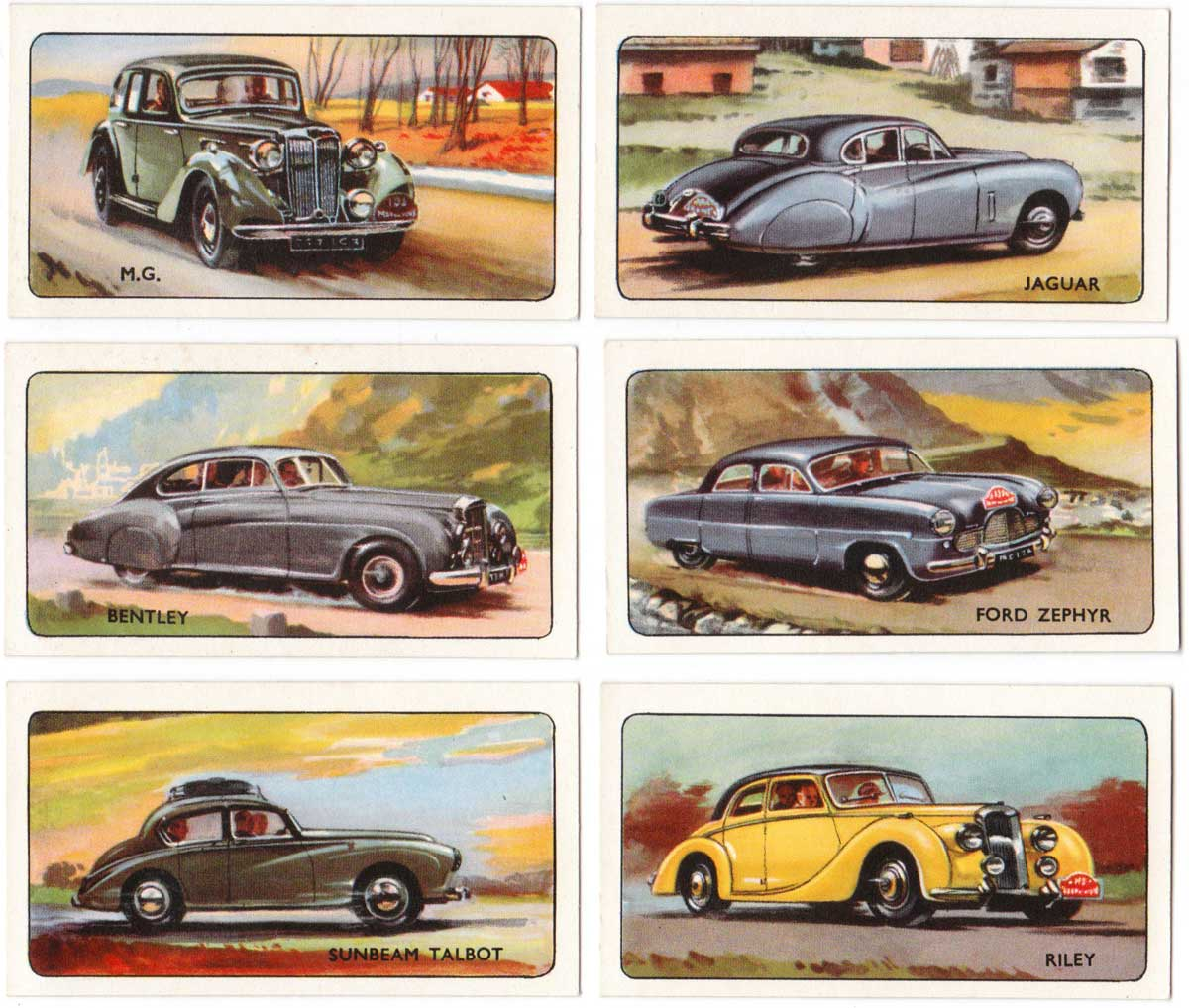 Rally card game car cards by Pepys, 1955