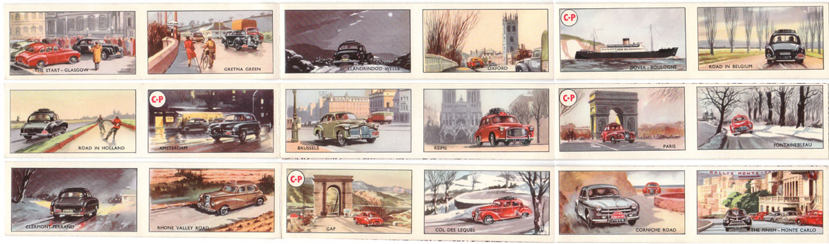 Rally card game route strips by Pepys, 1955