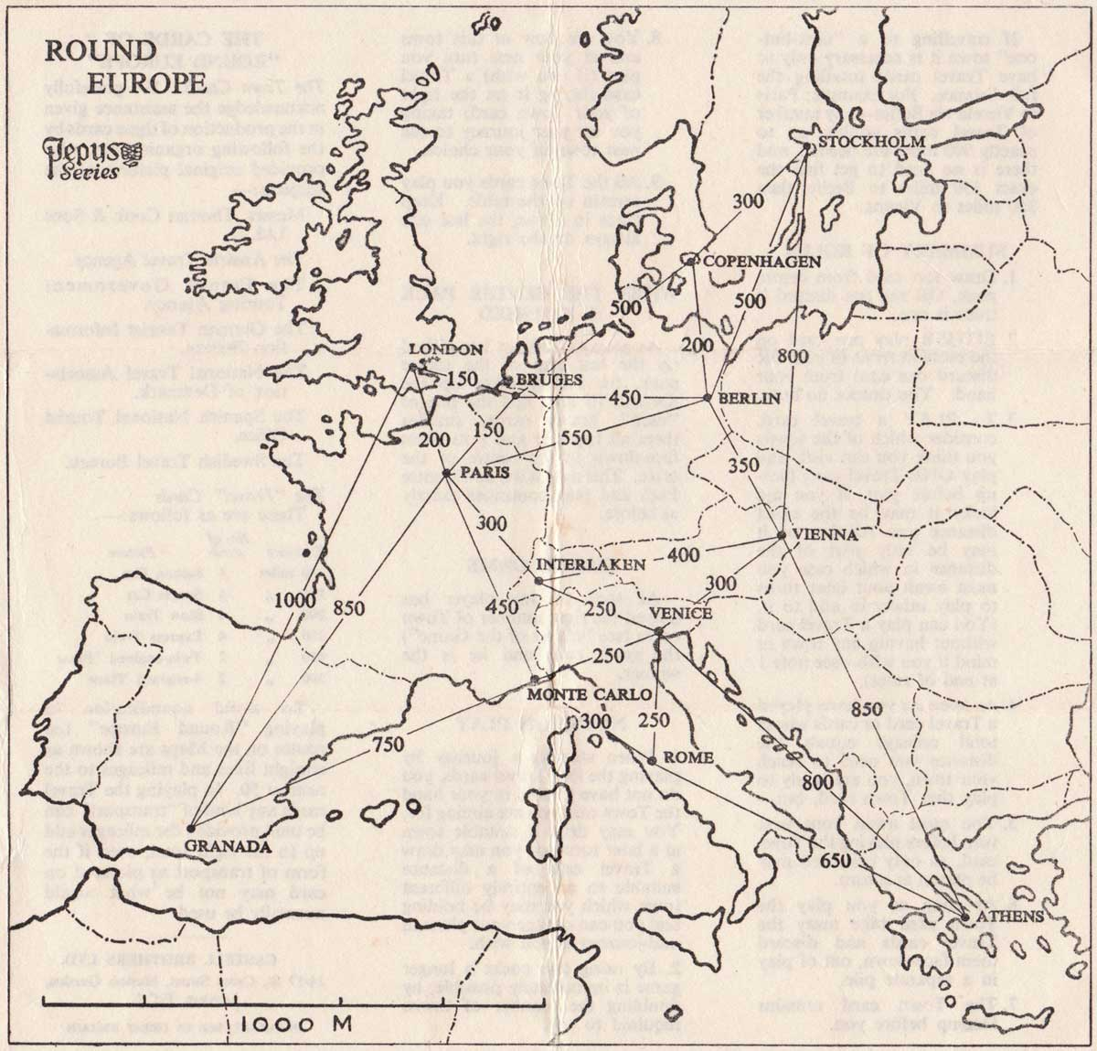 Round Europe card game by Pepys, 1958