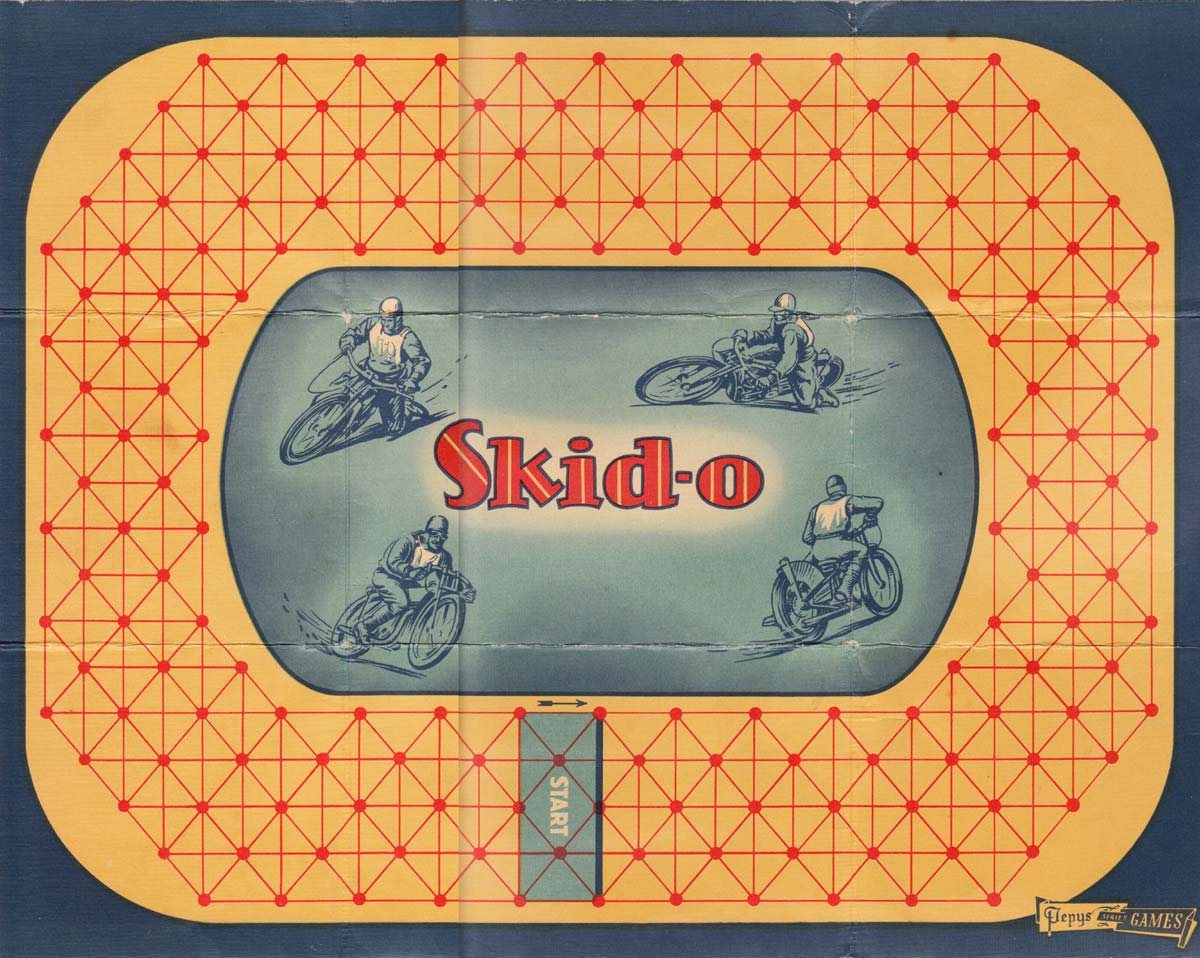 Skid-o motorcycle card game by Pepys, 1951