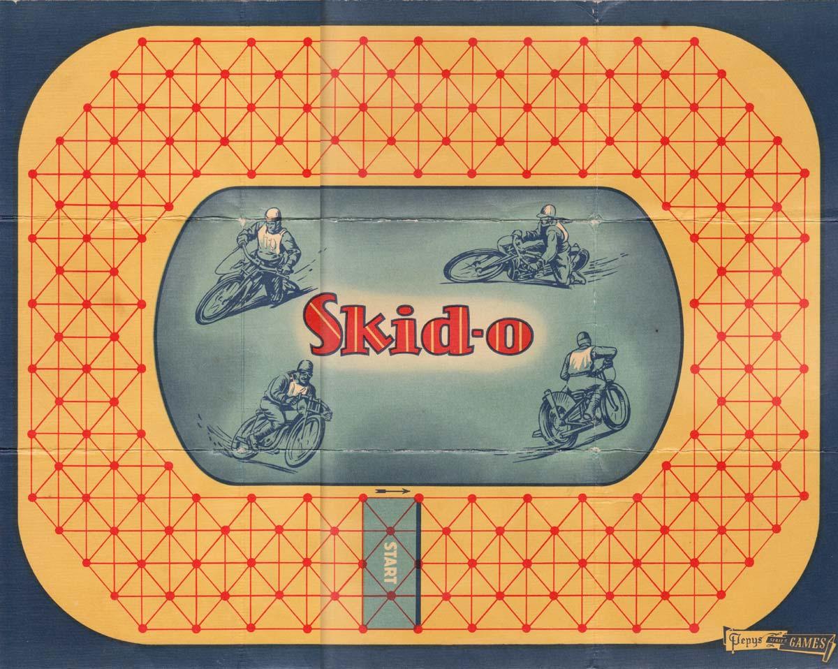 Skid-o motorcycle card game by Pepys, 1951