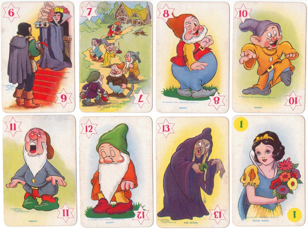 Snow White card game 1st edition published by Castell Brothers Ltd (Pepys), 1937