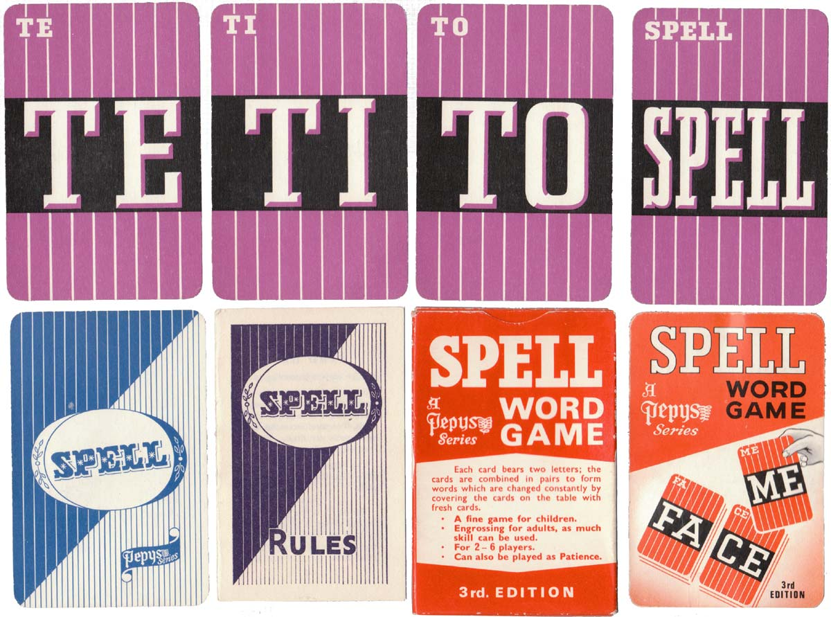 Spell word game published by Pepys Games, third edition, c.1960