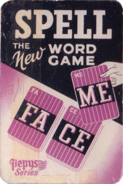 Spell word game published by Pepys Games, 1958