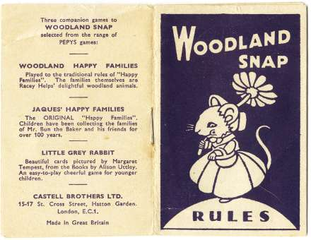 booklet from Woodland Snap card game published by Pepys Games (Castell Brothers Ltd)