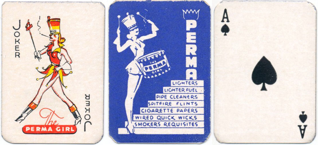 "Miniature pocket playing cards advertising ""Perma"" smoker's requisites published by Permalon Ltd, London W1, c.1948"