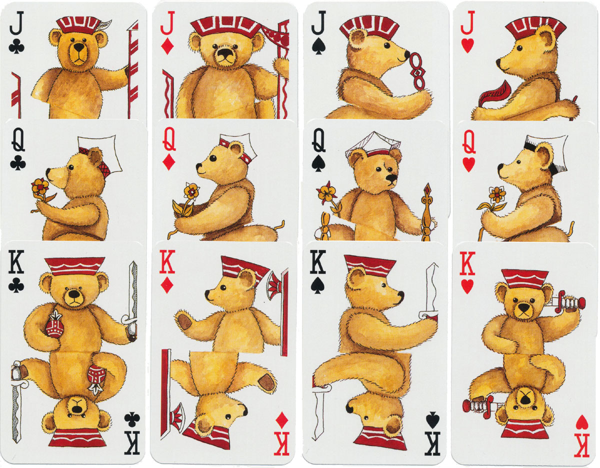 Teddy Bear 'semi-transformation' playing cards designed by Peter Wood for Lyons Quickbrew Tea, manufactured by Carta Mundi