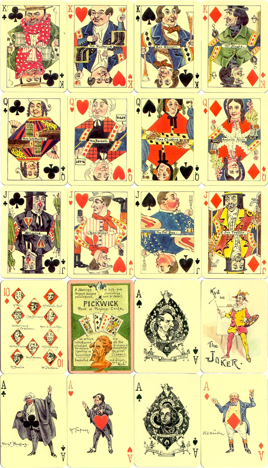 Pickwick Playing Cards invented and drawn by 'Kyd'