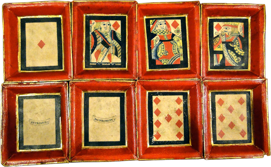 Pope Joan trays with old playing cards forming their base, early 19th century. Images courtesy Tim Paine