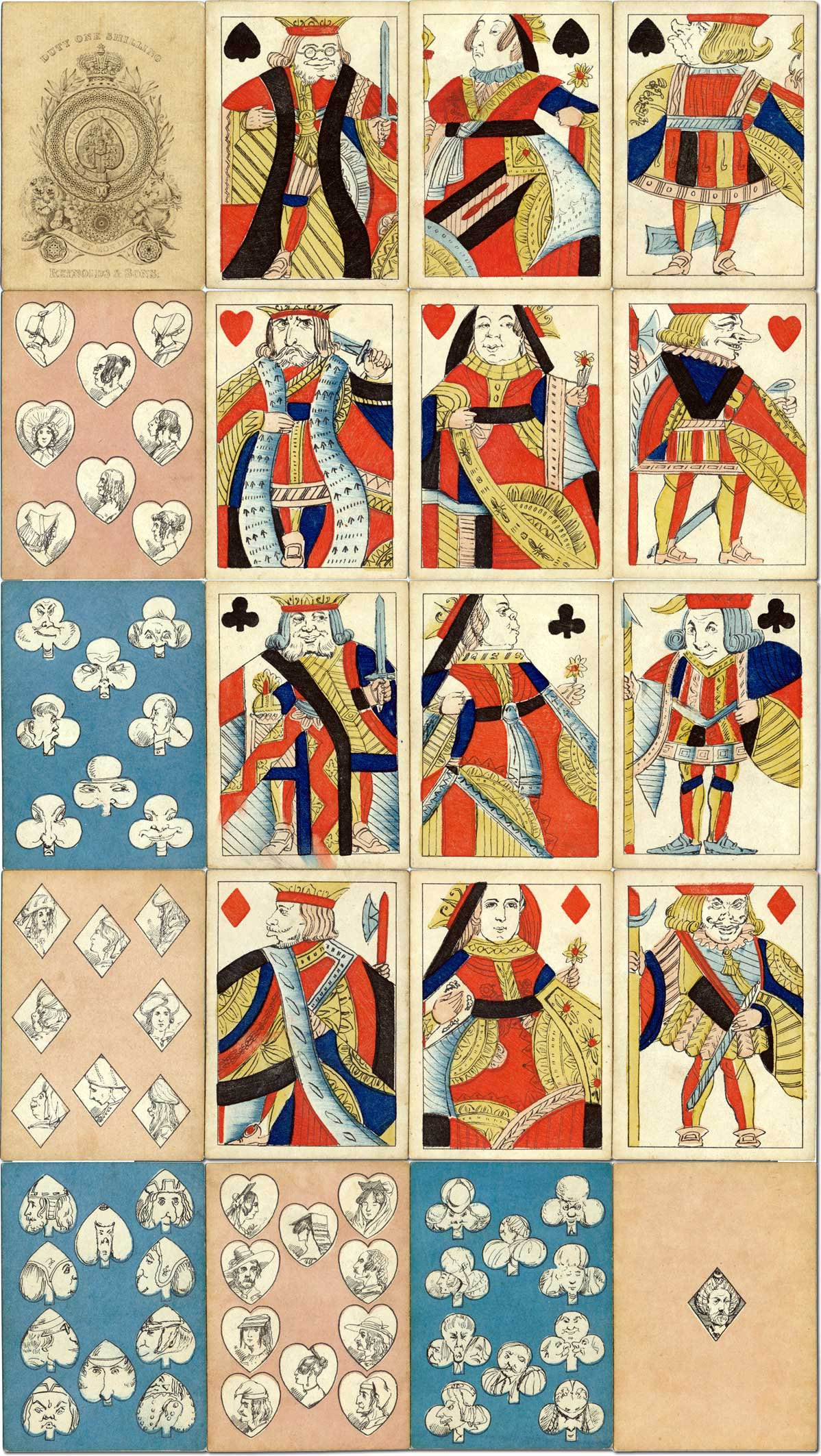 Transformation playing cards by the illustrator and comic artist Alfred Crowquill (1804-72)
