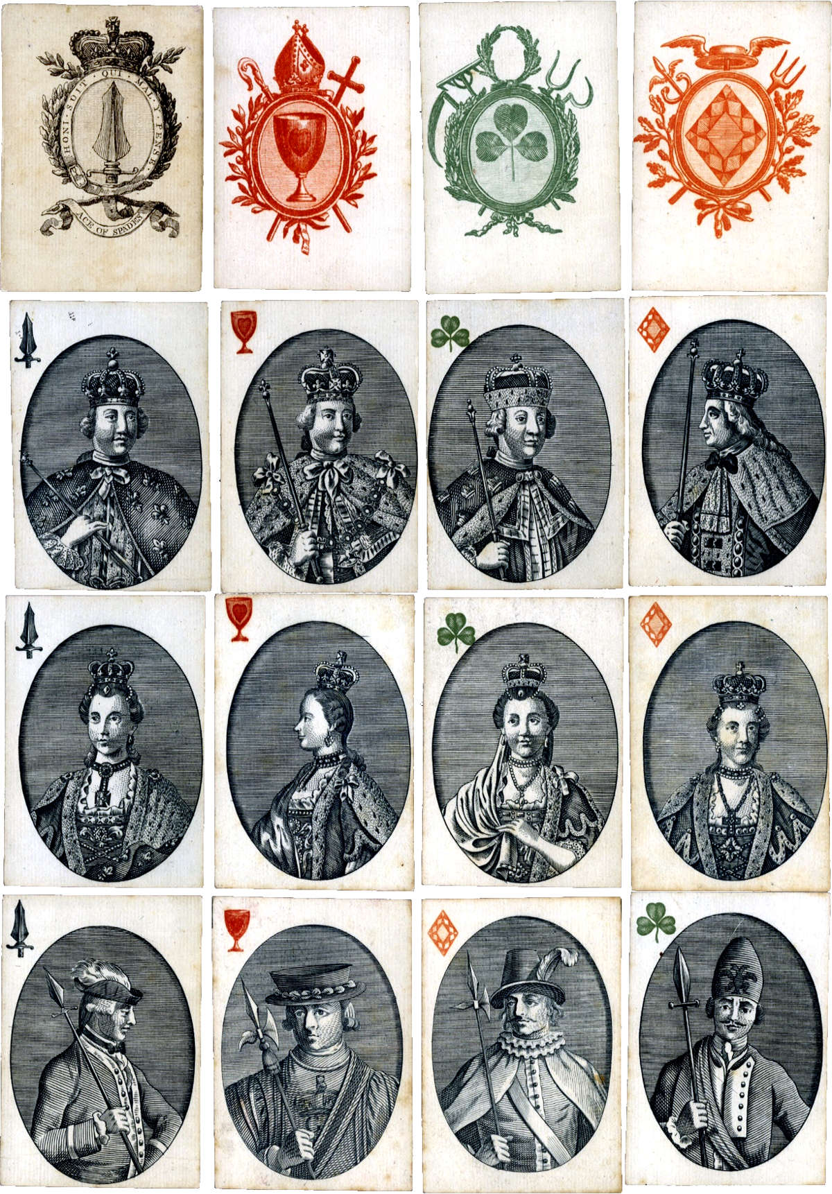 "Rowley & Co's copper-engraved ""Monarchs of Europe"" non-standard playing cards published c.1774-1776"