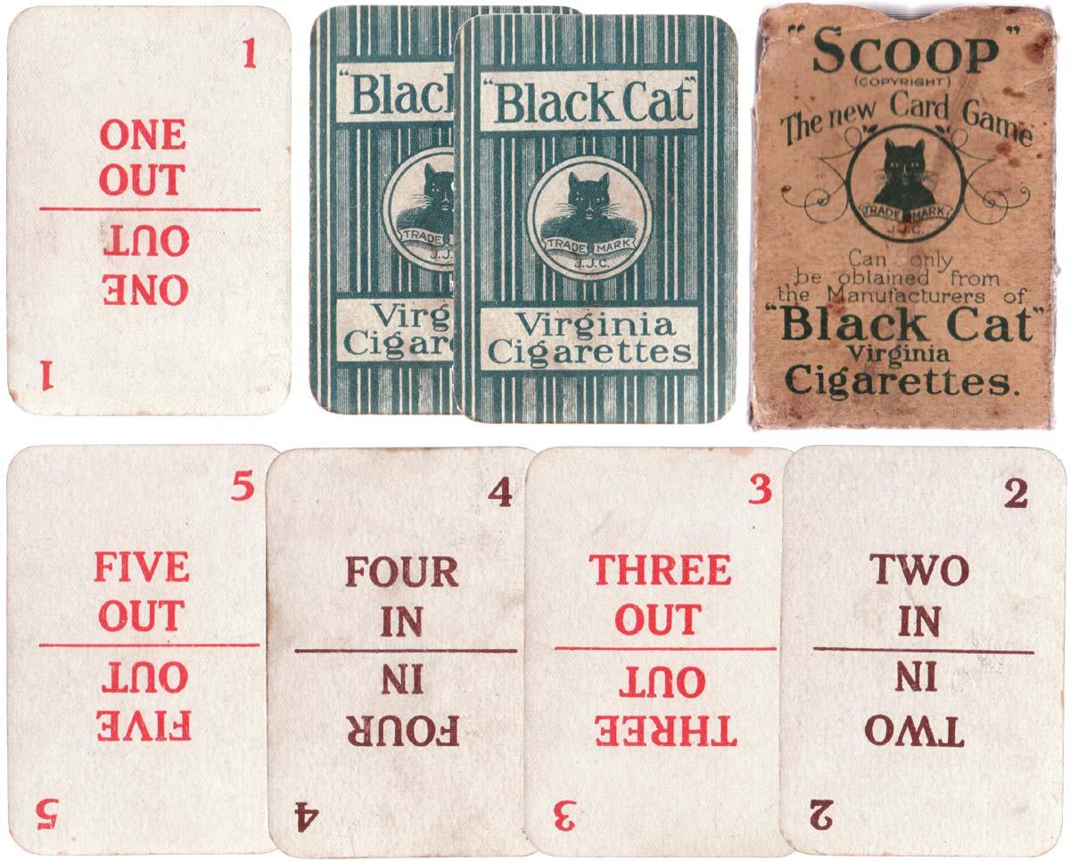 Scoop card game promoting Black Cat Virginia cigarettes, c.1910
