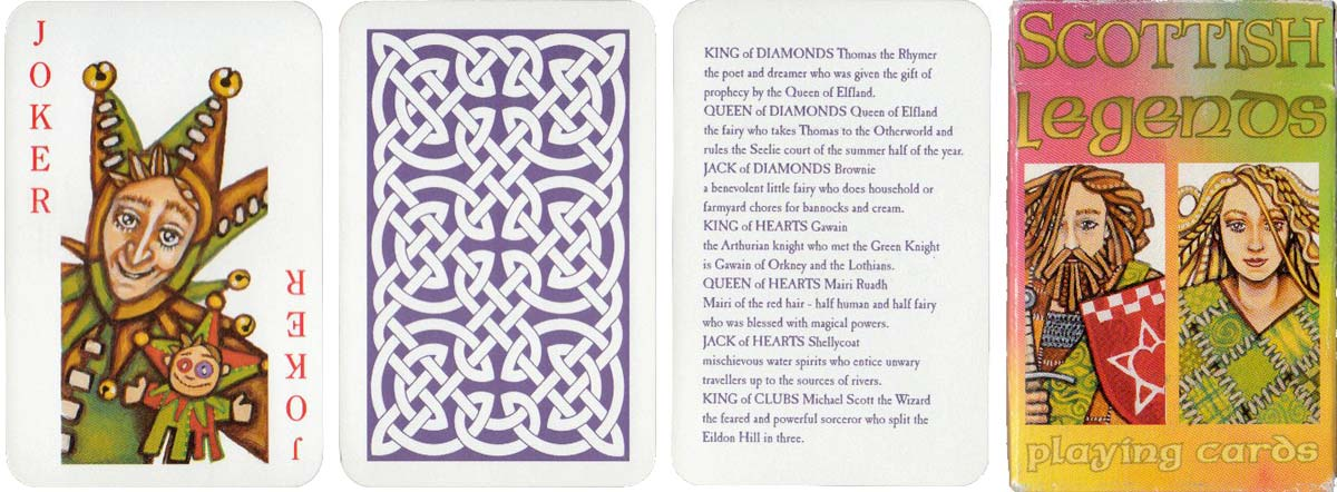 Scottish Legends playing cards, illustrated and designed by Mark Oxbrow, published by R Somerville, Edinburgh, 1998