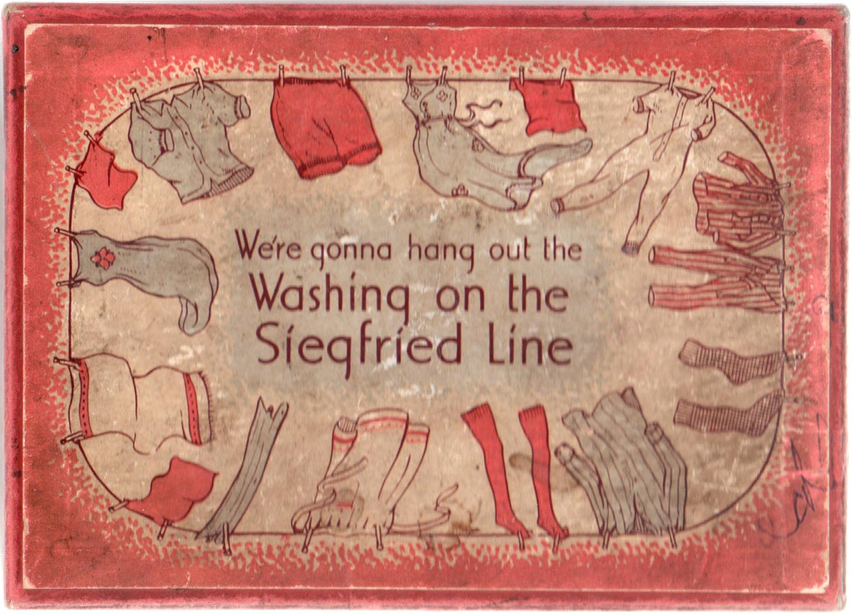 """We're Gonna Hang Out the Washing on the Siegfried Line"" wartime card game made by William Sessions Ltd, 1940s"