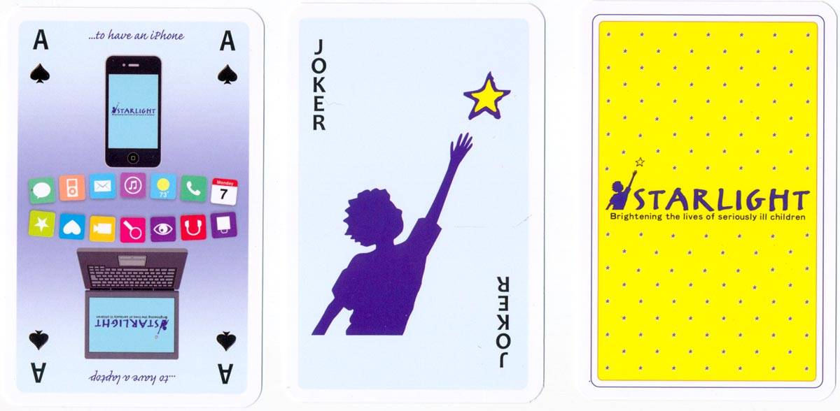 Starlight playing cards - brightening the lives of seriously ill children - published by Simon Lucas Bridge Supplies Ltd