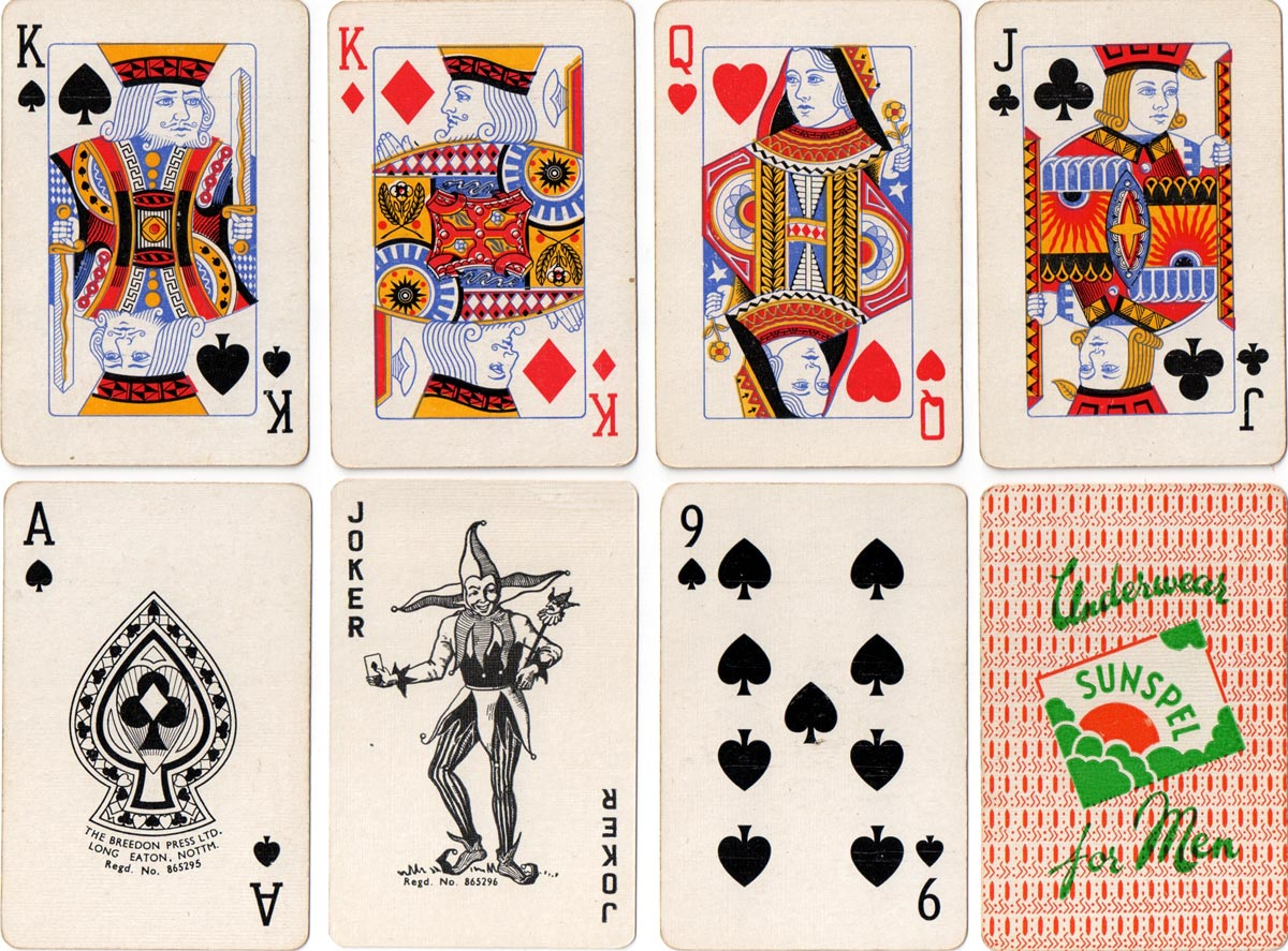 playing cards advertising Sunspel underwear printed by the Breedon Press Ltd, Nottingham, c.1958