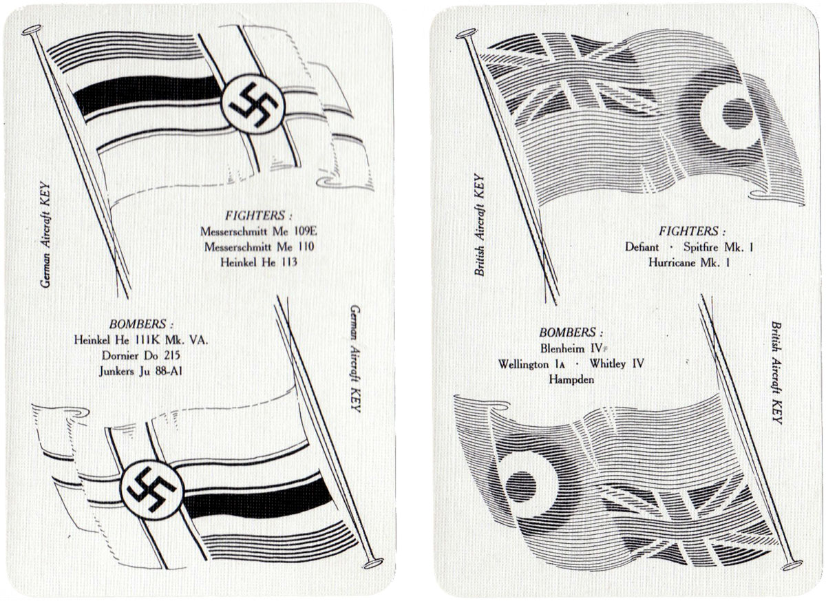 """War Planes"" card game for aircraft spotters published by Temple Press Limited, c.1940"