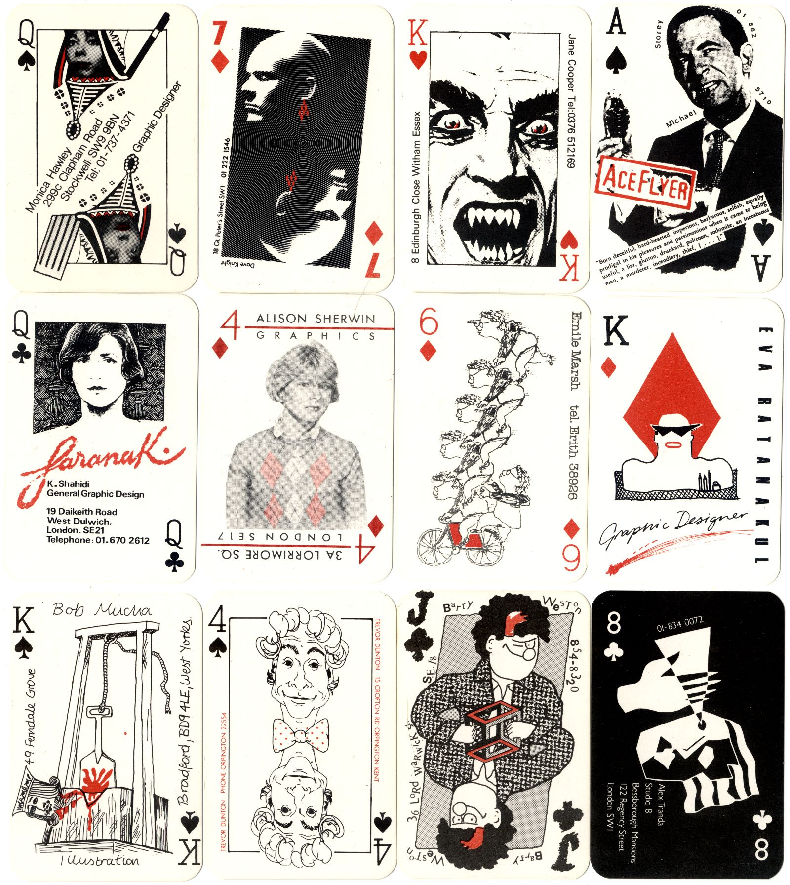 The London College of Printing '52 Club' Designers and Artists playing cards, 1984