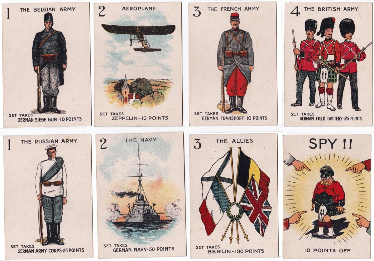 Spy card game published by Valentine's Games, c.1915