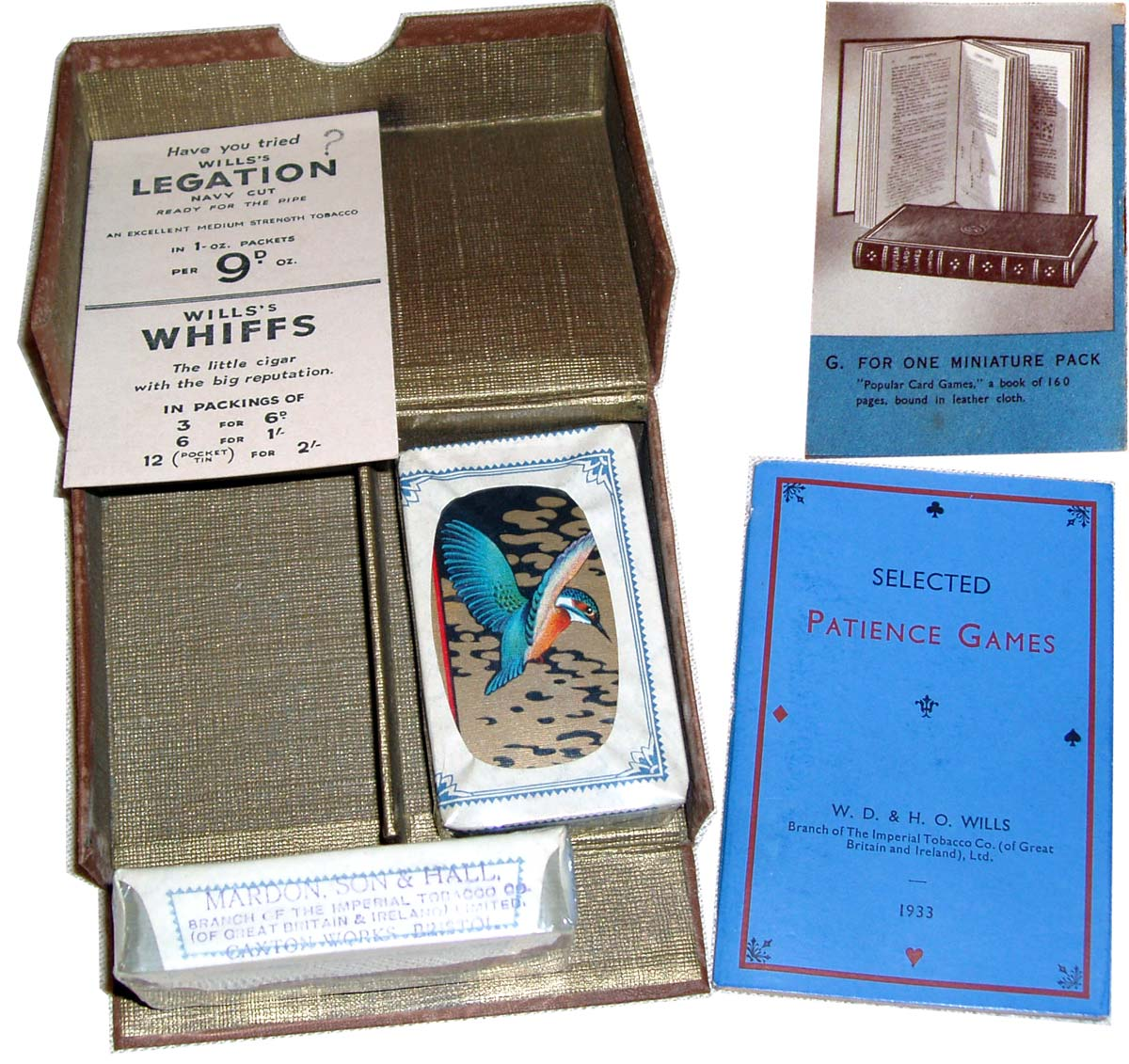 boxed patience set manufactured by Mardon, Son & Hall for W.D. & H.O. Wills' gift scheme, 1933