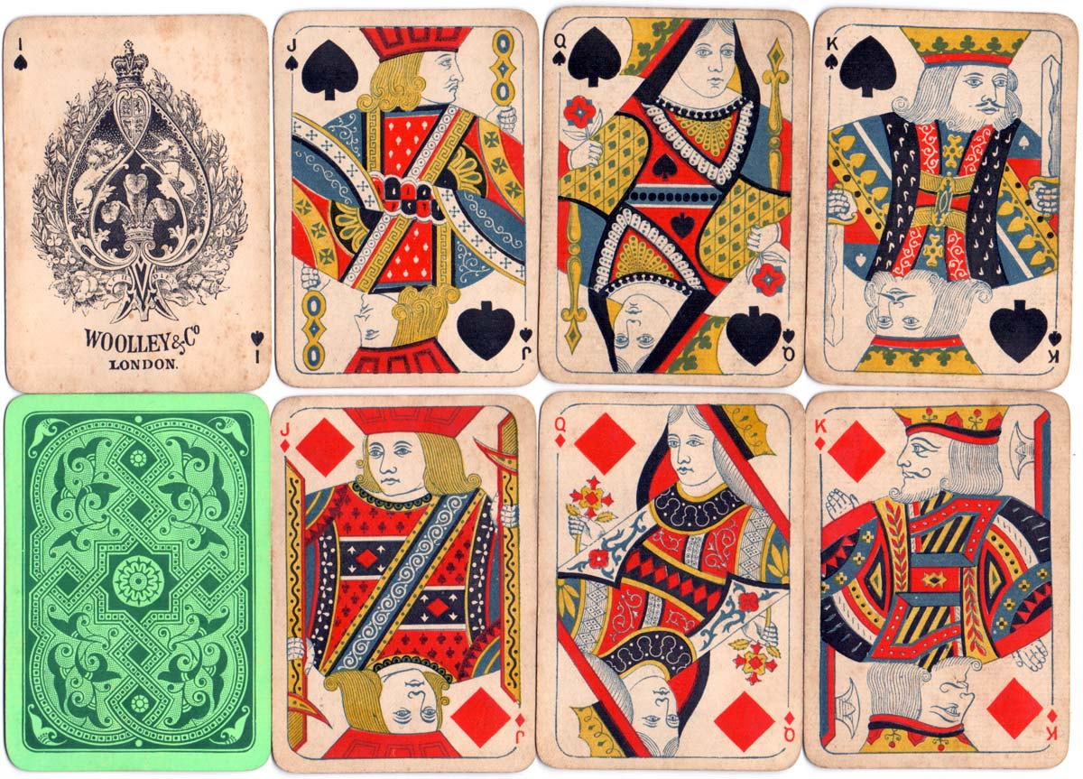 "Woolley & Co: ""Eureka"" playing cards with rounded corners, small index pips and decorative back design, c.1880-1885"