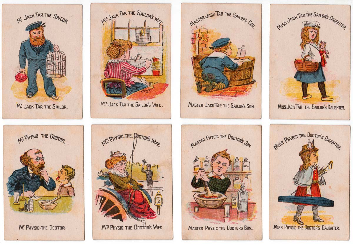 """""""Funny Families"""" card game manufactured by Woolley & Co, 1890s"""