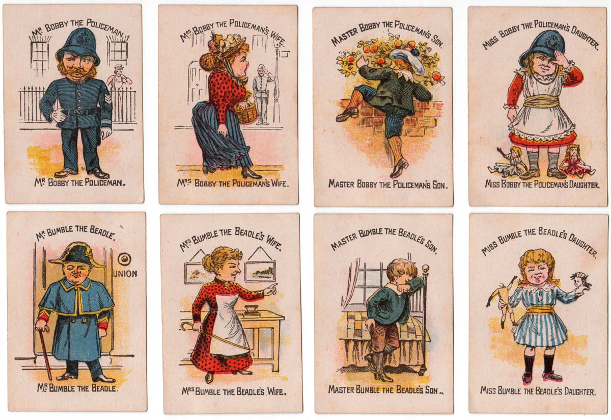 """Funny Families"" card game manufactured by Woolley & Co, 1890s"
