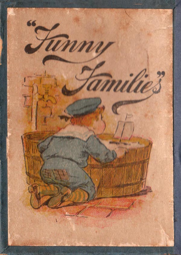 "Box from ""Funny Families"" card game manufactured by Woolley & Co, 1890s"