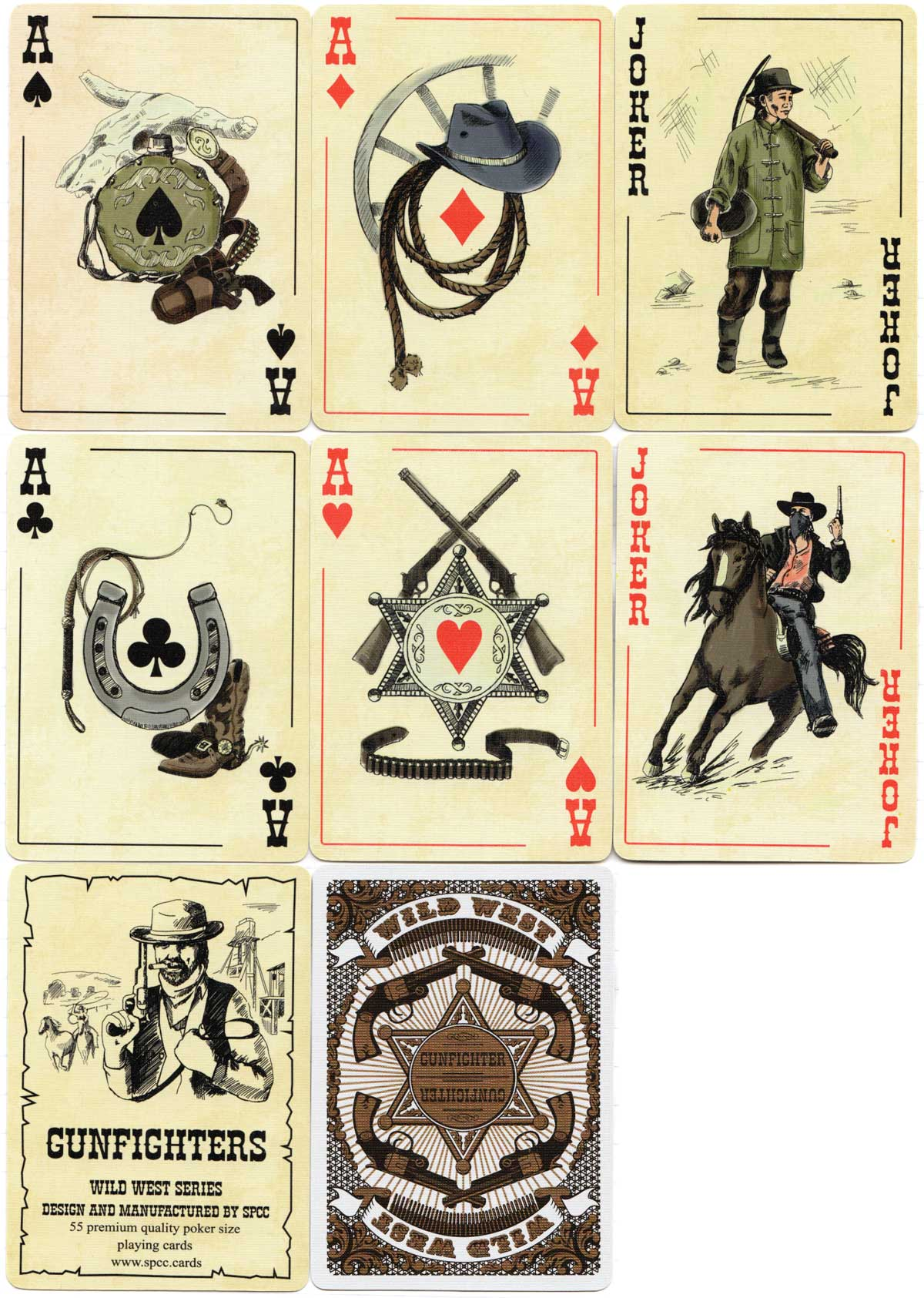Gunfighters playing cards from the Wild West Series by SPCC, 2018