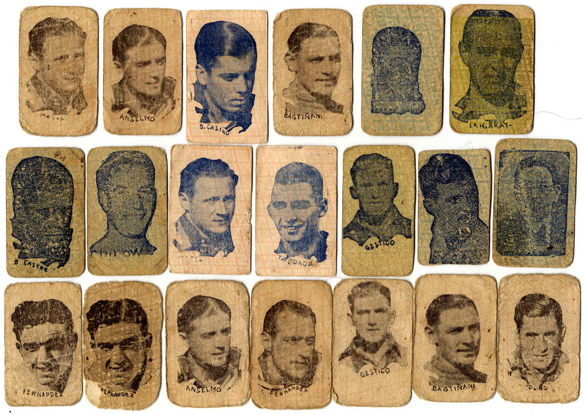 Children's miniature football player cards, Montevideo, c.1928