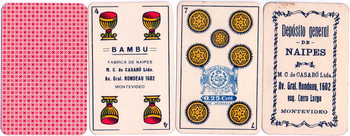 Naipes 'Bambú' manufactured by M.C. de Casabó Ltda, Montevideo, 1950s