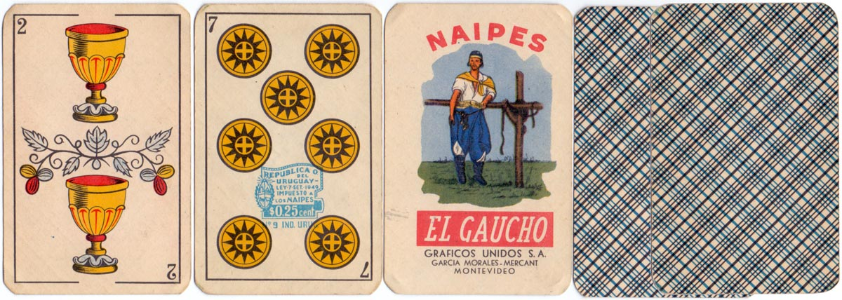 "Naipes ""El Gaucho"" Manufactured by Gráficos Unidos S.A., Montevideo, c.1955-60"