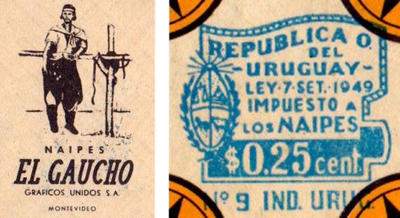 """Naipes """"El Gaucho"""" Manufactured by Gráficos Unidos S.A., Montevideo, c.1960"""