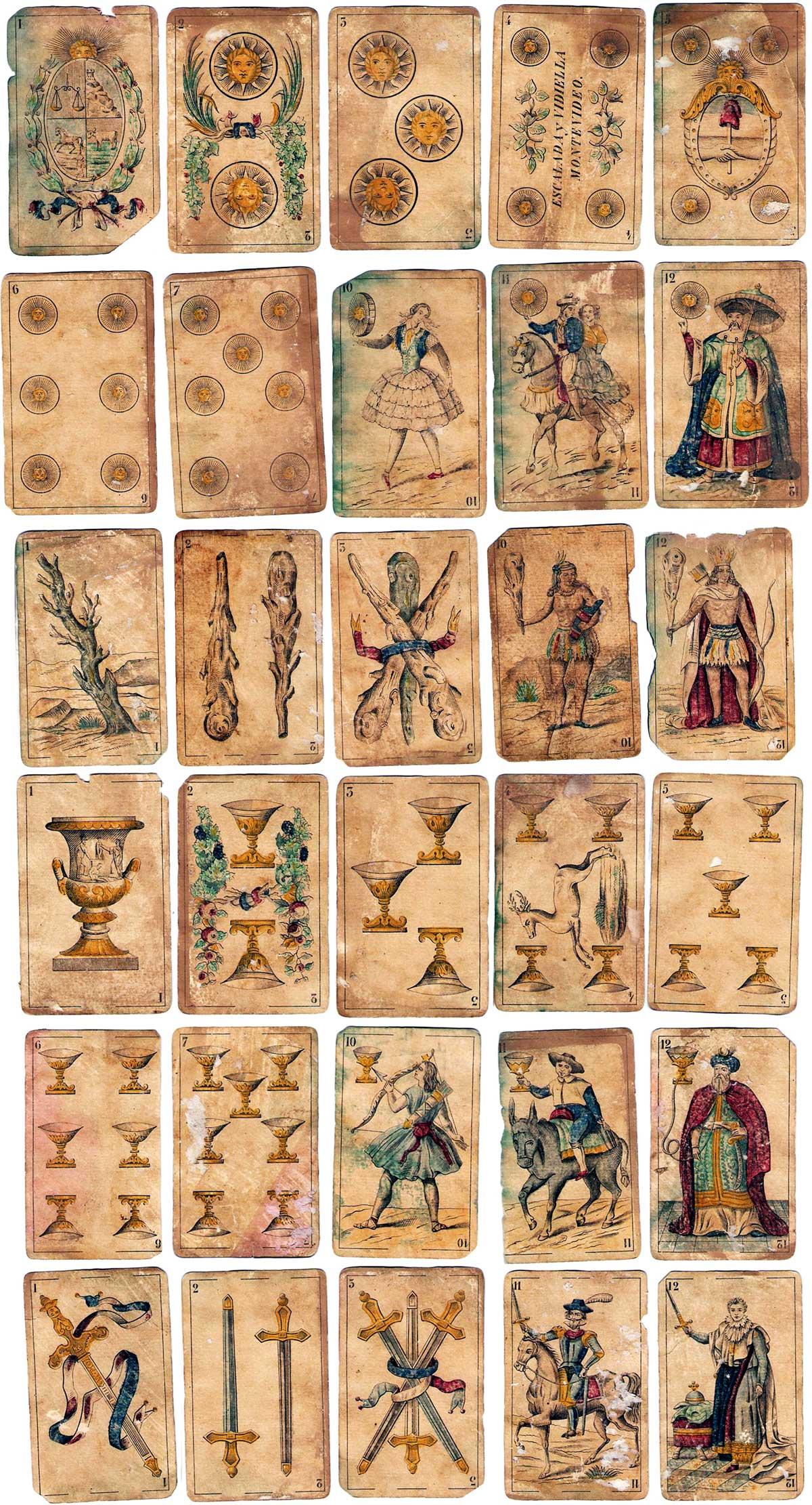 40-card pack made in Belgium by Antoine van Genechten exclusively for the firm Escalada y Vidiella based in Montevideo (Uruguay) in c.1860
