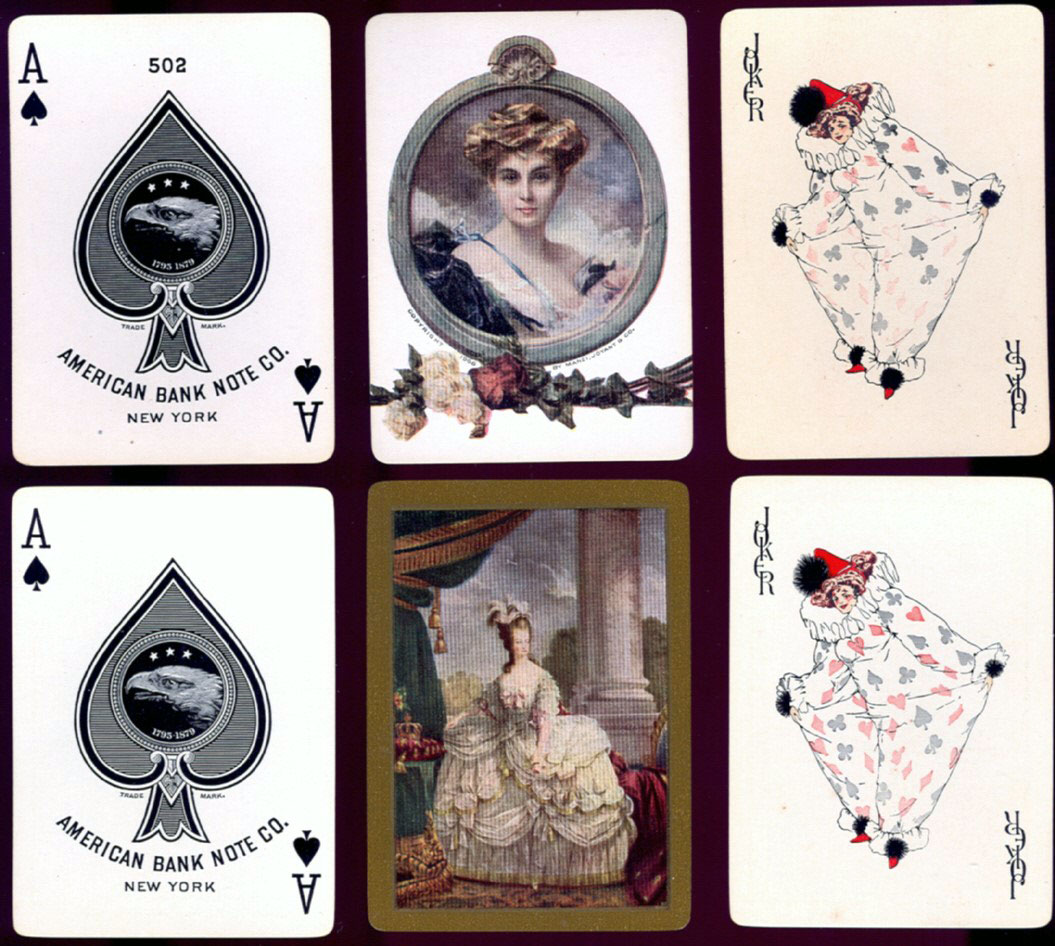 "American Bank Note Co. No.502 playing cards with pictorial back designs and ""Baggy Clown"" Joker, c.1910"