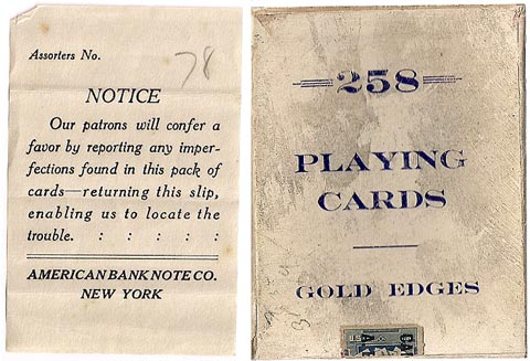 American Bank Note Co. No.258 playing cards box, c.1912