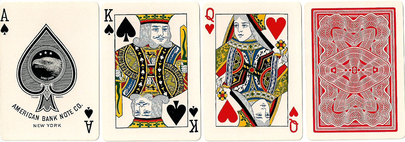 American Bank Note Co. playing cards with banknote back design, c.1912