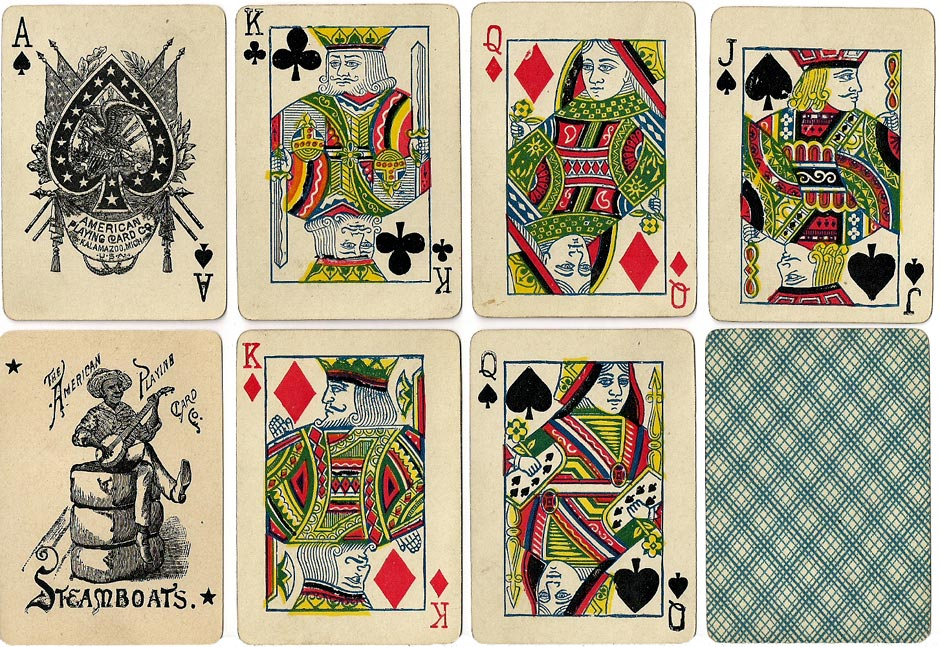 'Steamboats No.99' playing cards produced by the American Playing Card Co. of Kalamazoo, c.1890