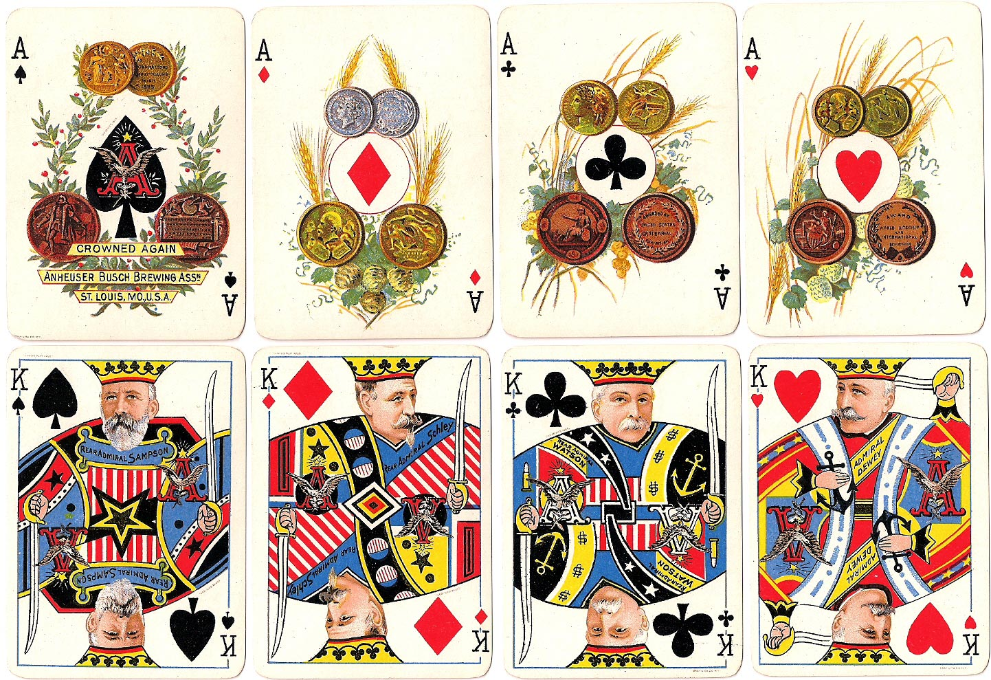 Anheuser-Busch Spanish American War playing cards, published by Gray Lithograph Co., 1899