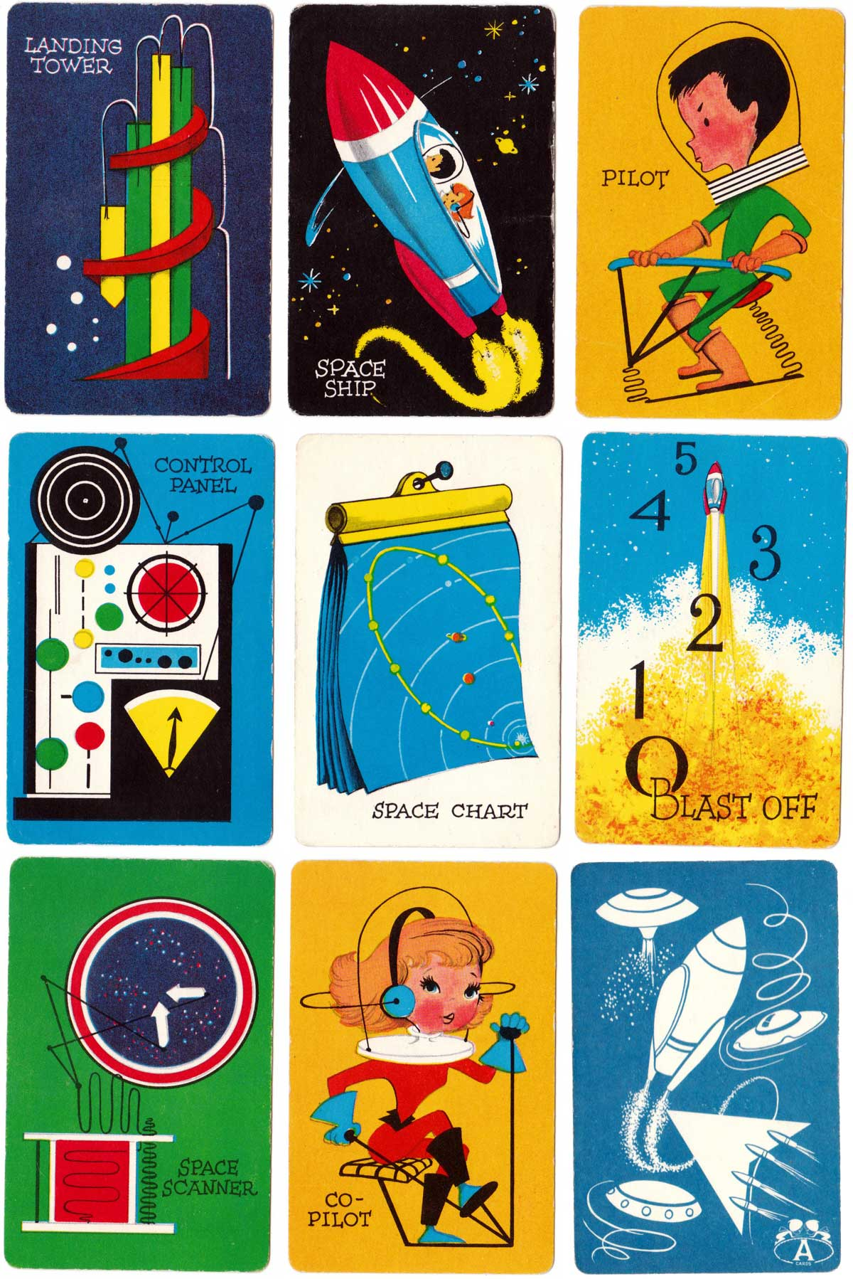 """Space-O"" card game published by Pla-Mor Games manufactured by ARRCO Playing Card Co, USA, 1950s"