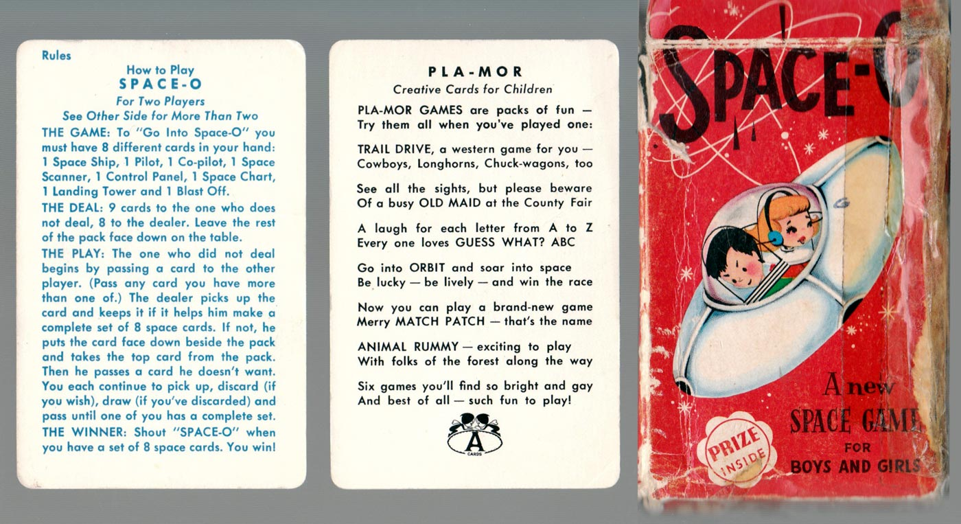 """""""Space-O"""" card game published by Pla-Mor Games manufactured by ARRCO Playing Card Co, USA, 1950s"""