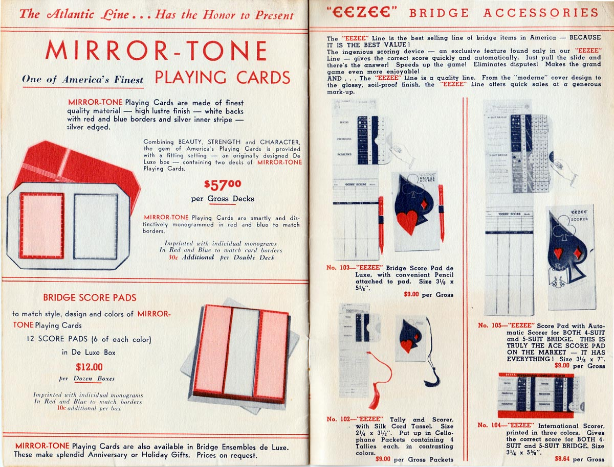 Trade catalogue by Atlantic Line Playing Card Co., Inc., c.1930s