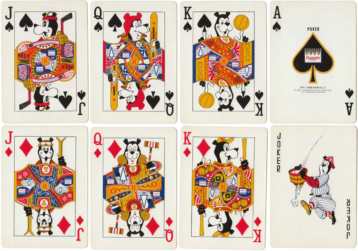 Hamm's Beer promotion deck with bear cartoons by Frank M. Antoncich 1968