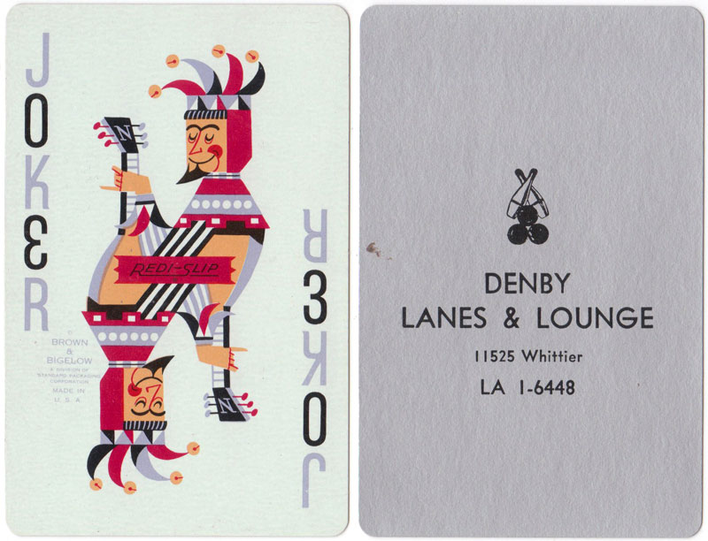 Nu-Vue playing cards for Denby Lanes & Lounge, mid-1960s