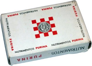 box from Nutrimientos Purina playing cards by Miguel Galas S.A. (Brown & Bigelow), Mexico, 1960
