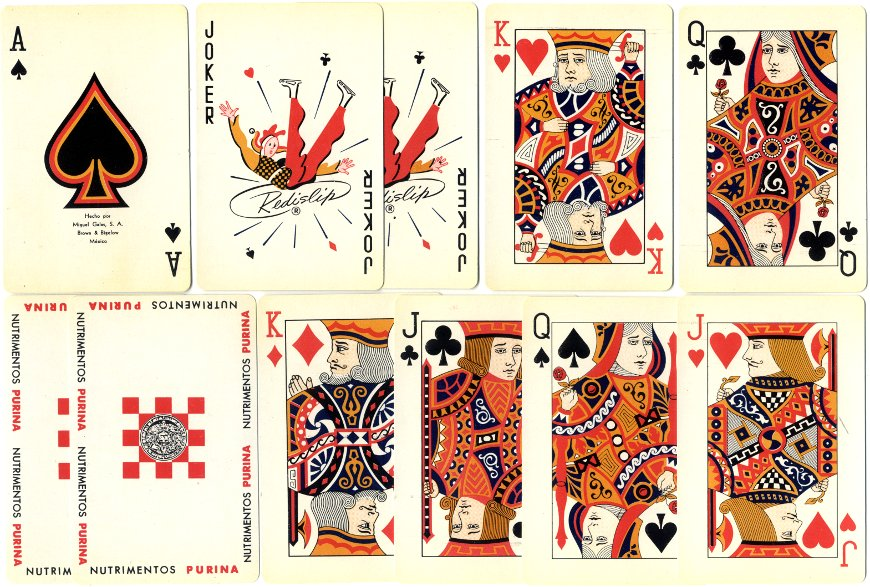 Nutrimientos Purina playing cards by Miguel Galas S.A. (Brown & Bigelow), Mexico