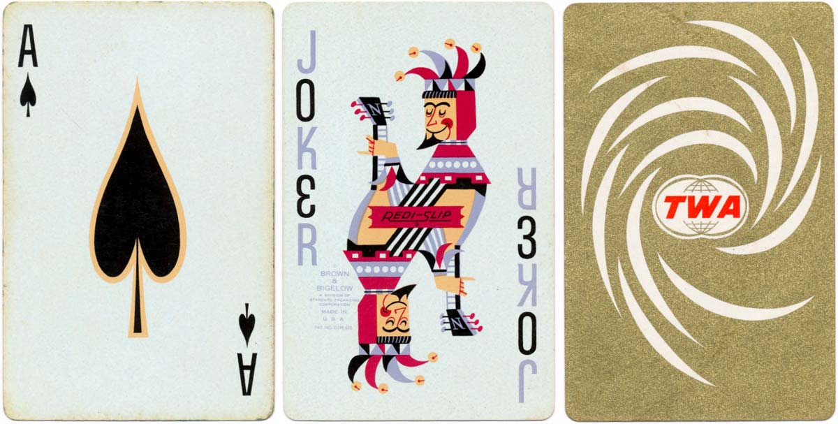 Nu-Vue playing cards for TWA by Brown & Bigelow, mid-1960s