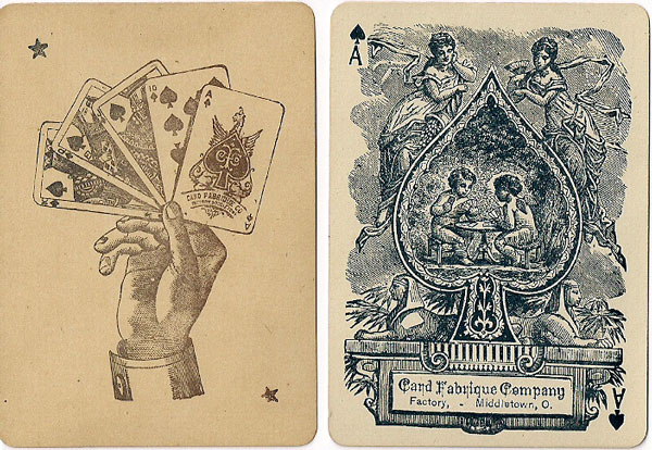 Ace of Spades and Joker by Card Fabrique Company, Middleton, Ohio (USA) c.1880